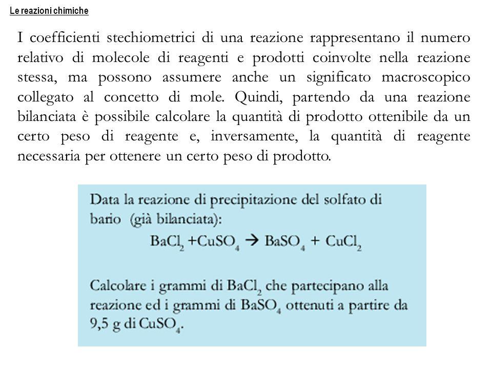 I coefficienti stechiometrici di una reazione rappresentano il numero relativo di molecole di reagenti e prodotti coinvolte nella reazione stessa, ma