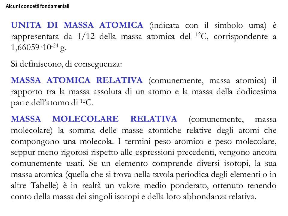 UNITA DI MASSA ATOMICA (indicata con il simbolo uma) è rappresentata da 1/12 della massa atomica del 12 C, corrispondente a 1,66059·10 -24 g. Si defin