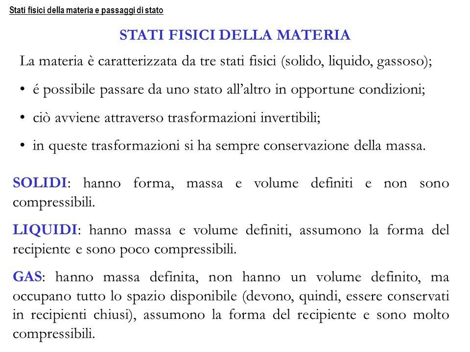 STATI FISICI DELLA MATERIA La materia è caratterizzata da tre stati fisici (solido, liquido, gassoso); é possibile passare da uno stato allaltro in op