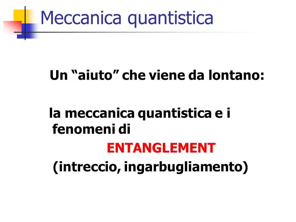 Meccanica quantistica Un aiuto che viene da lontano: la meccanica quantistica e i fenomeni di ENTANGLEMENT (intreccio, ingarbugliamento)