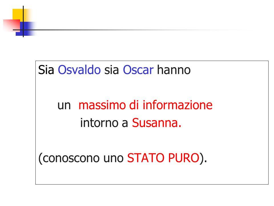Sia Osvaldo sia Oscar hanno un massimo di informazione intorno a Susanna. (conoscono uno STATO PURO).