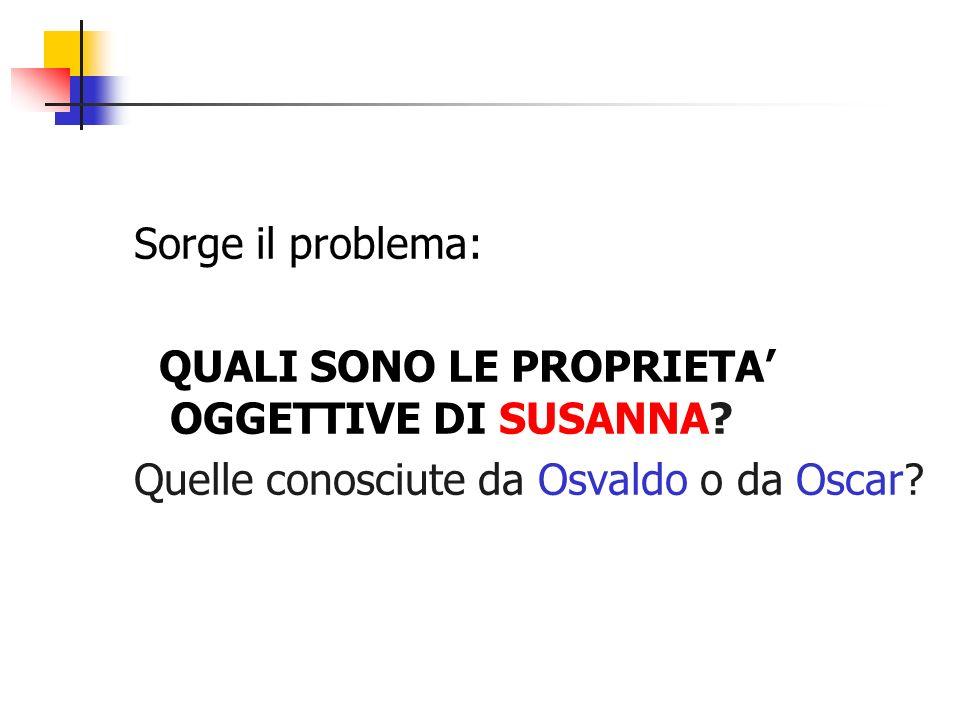Sorge il problema: QUALI SONO LE PROPRIETA OGGETTIVE DI SUSANNA? Quelle conosciute da Osvaldo o da Oscar?