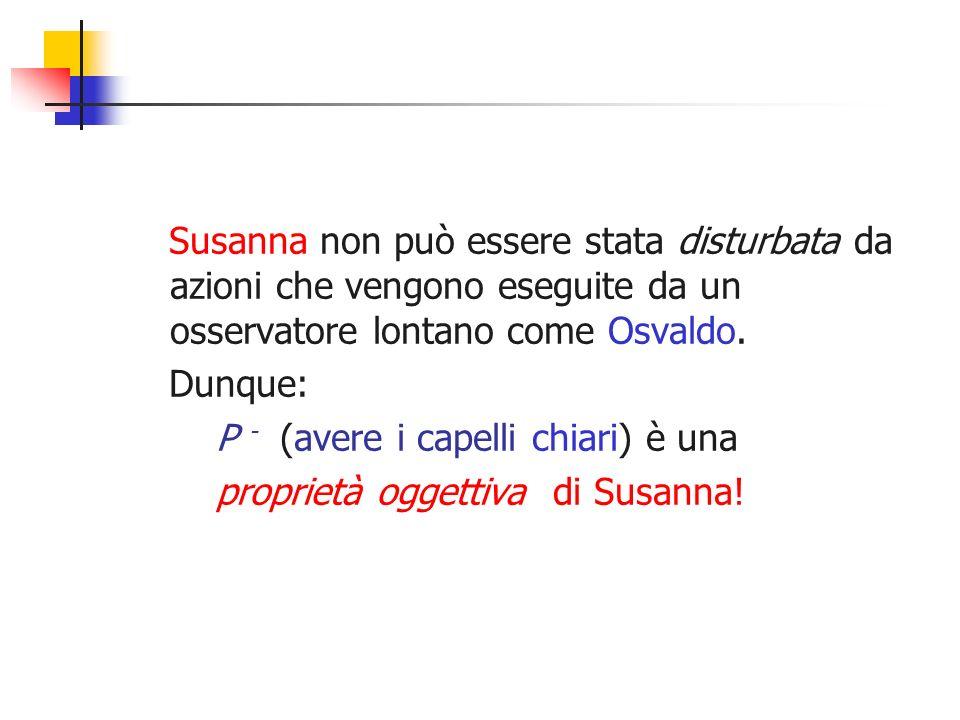 Susanna non può essere stata disturbata da azioni che vengono eseguite da un osservatore lontano come Osvaldo. Dunque: P - (avere i capelli chiari) è
