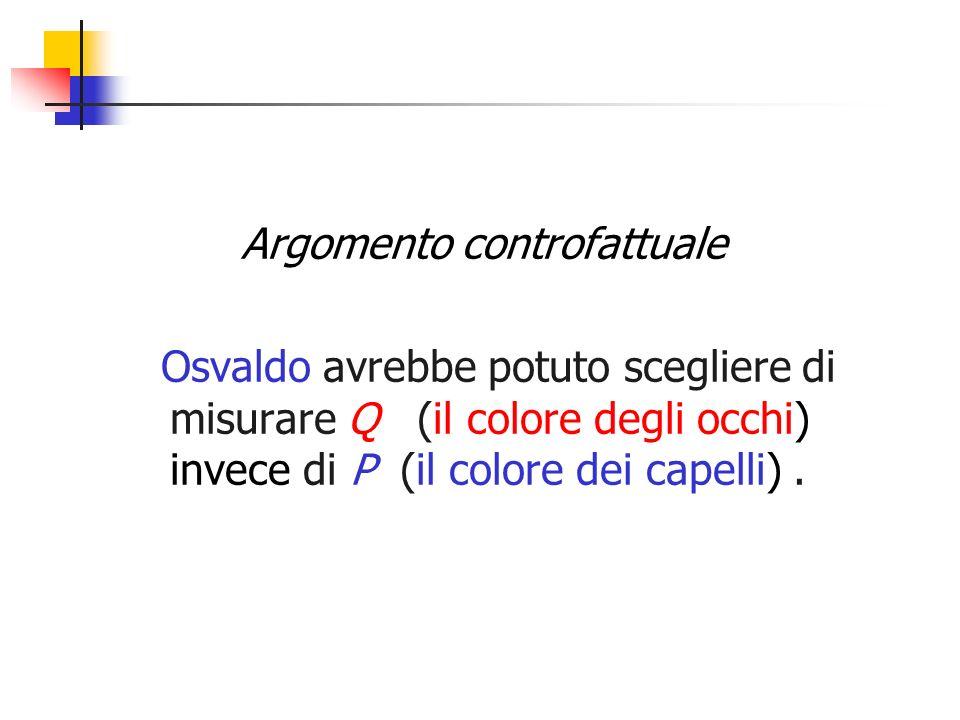 Argomento controfattuale Osvaldo avrebbe potuto scegliere di misurare Q (il colore degli occhi) invece di P (il colore dei capelli).