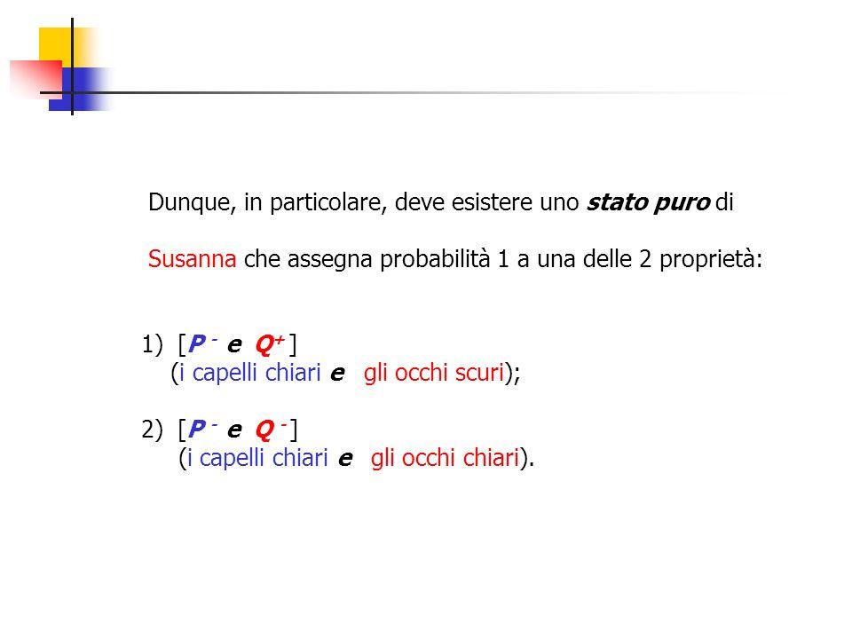 Dunque, in particolare, deve esistere uno stato puro di Susanna che assegna probabilità 1 a una delle 2 proprietà: 1) [P - e Q + ] (i capelli chiari e