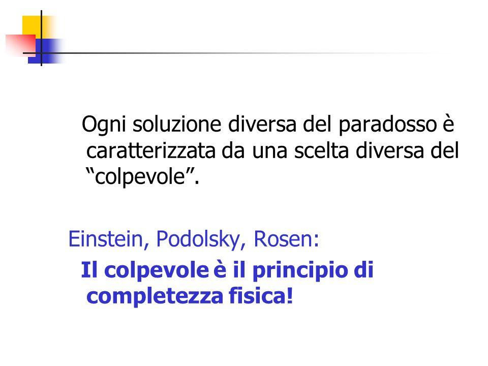 Ogni soluzione diversa del paradosso è caratterizzata da una scelta diversa del colpevole. Einstein, Podolsky, Rosen: Il colpevole è il principio di c