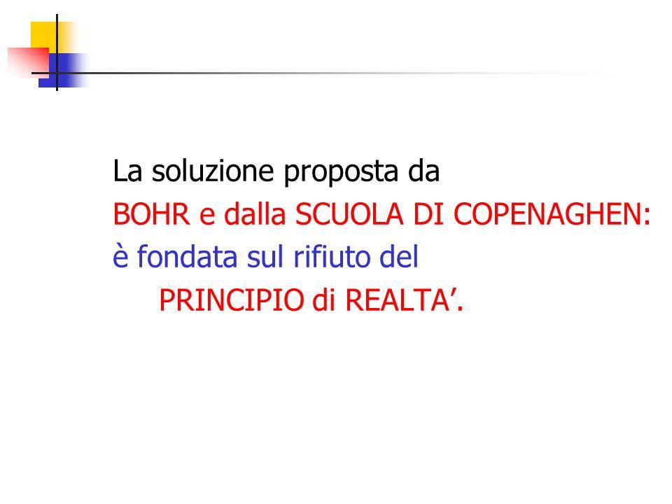 La soluzione proposta da BOHR e dalla SCUOLA DI COPENAGHEN: è fondata sul rifiuto del PRINCIPIO di REALTA.