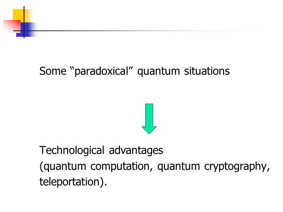 Some paradoxical quantum situations Technological advantages (quantum computation, quantum cryptography, teleportation).