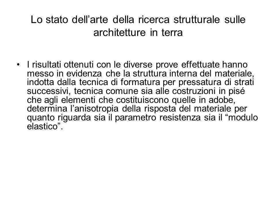 Lo stato dellarte della ricerca strutturale sulle architetture in terra I risultati ottenuti con le diverse prove effettuate hanno messo in evidenza c