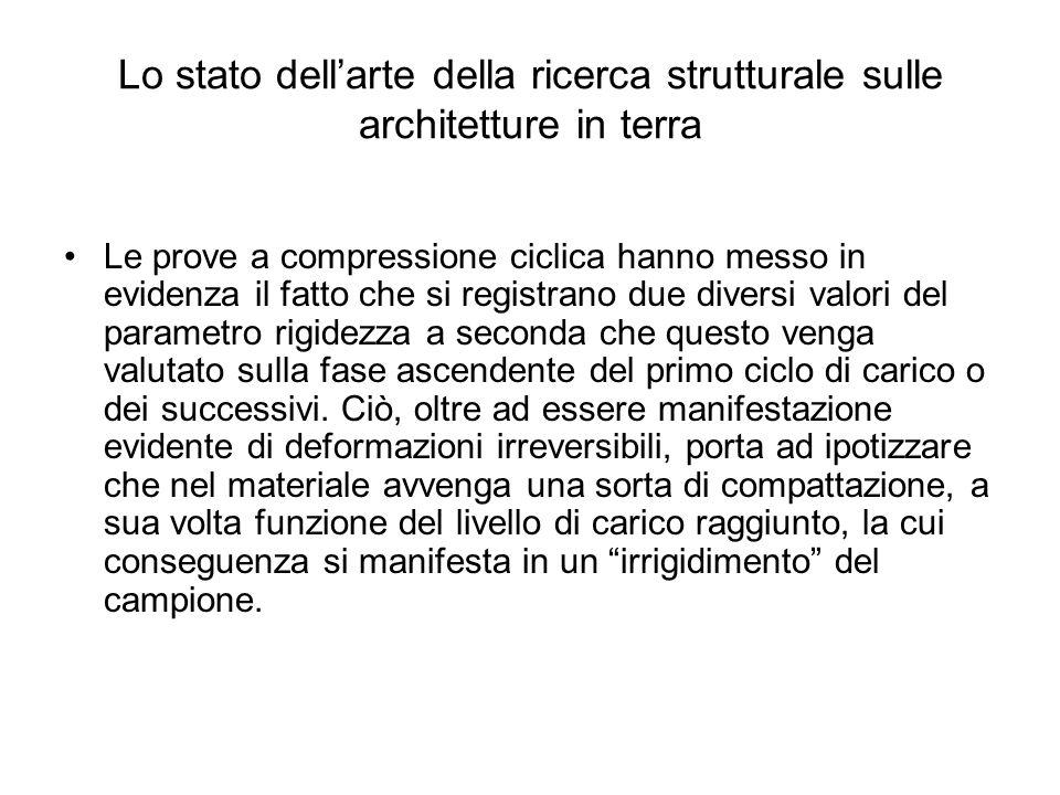 Lo stato dellarte della ricerca strutturale sulle architetture in terra Le prove a compressione ciclica hanno messo in evidenza il fatto che si regist