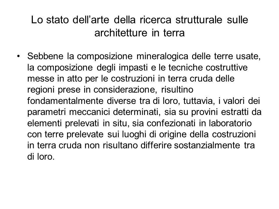 Lo stato dellarte della ricerca strutturale sulle architetture in terra Sebbene la composizione mineralogica delle terre usate, la composizione degli
