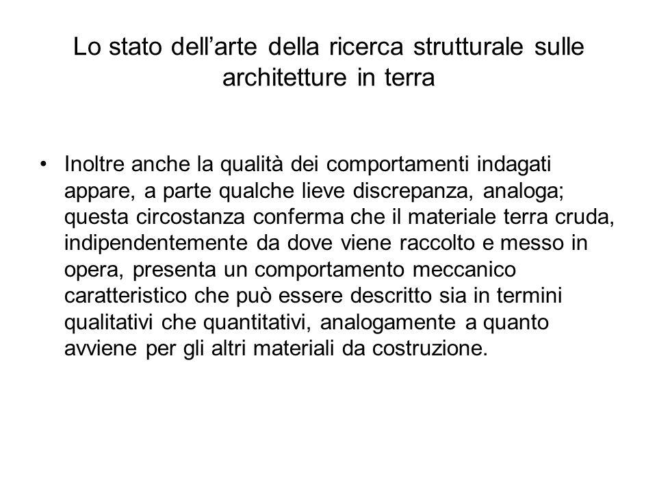 Lo stato dellarte della ricerca strutturale sulle architetture in terra Inoltre anche la qualità dei comportamenti indagati appare, a parte qualche li