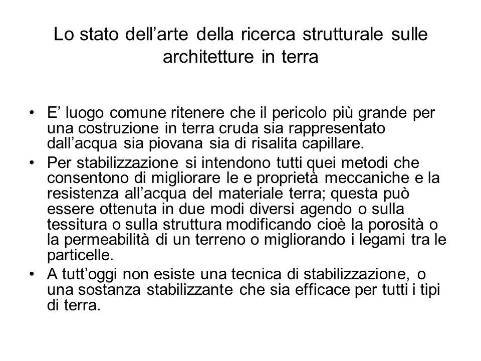 Lo stato dellarte della ricerca strutturale sulle architetture in terra E luogo comune ritenere che il pericolo più grande per una costruzione in terr