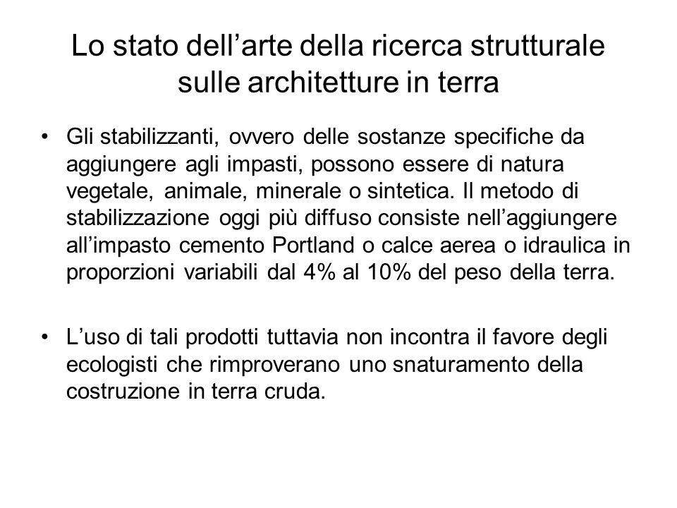 Lo stato dellarte della ricerca strutturale sulle architetture in terra Gli stabilizzanti, ovvero delle sostanze specifiche da aggiungere agli impasti