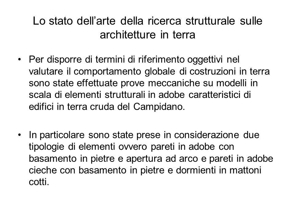 Lo stato dellarte della ricerca strutturale sulle architetture in terra Per disporre di termini di riferimento oggettivi nel valutare il comportamento