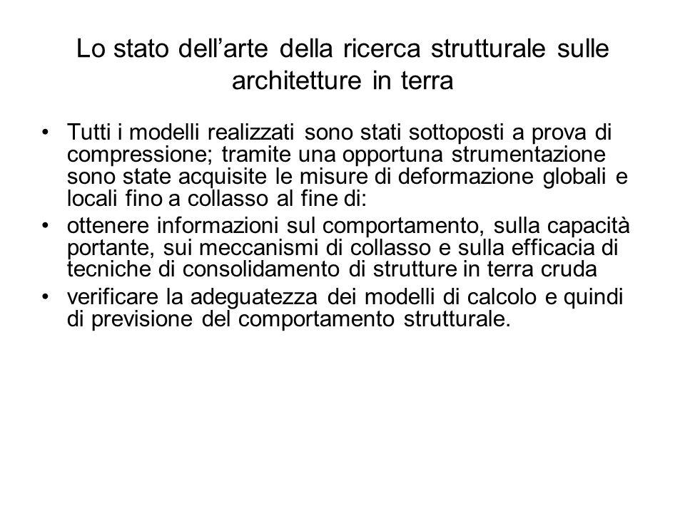 Lo stato dellarte della ricerca strutturale sulle architetture in terra Tutti i modelli realizzati sono stati sottoposti a prova di compressione; tram