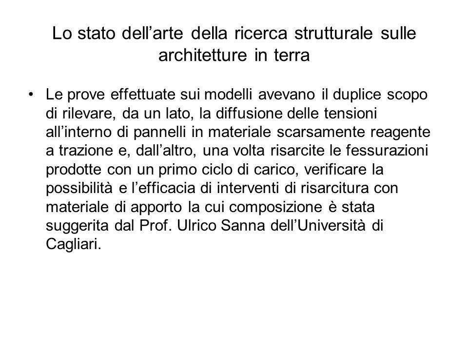 Lo stato dellarte della ricerca strutturale sulle architetture in terra Le prove effettuate sui modelli avevano il duplice scopo di rilevare, da un la