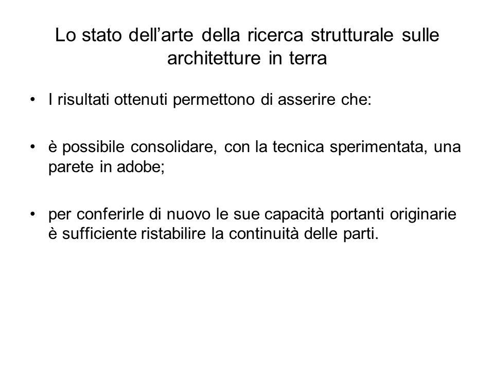 Lo stato dellarte della ricerca strutturale sulle architetture in terra I risultati ottenuti permettono di asserire che: è possibile consolidare, con