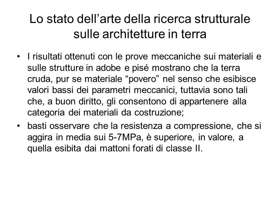 Lo stato dellarte della ricerca strutturale sulle architetture in terra I risultati ottenuti con le prove meccaniche sui materiali e sulle strutture i