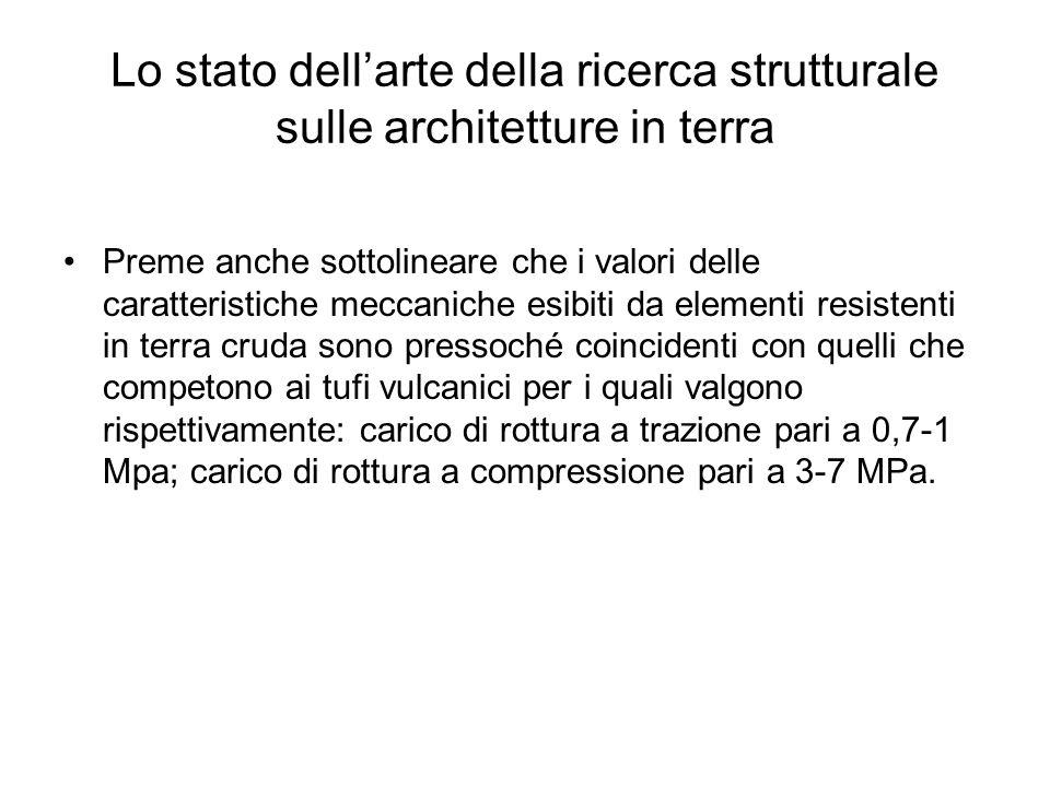 Lo stato dellarte della ricerca strutturale sulle architetture in terra Preme anche sottolineare che i valori delle caratteristiche meccaniche esibiti
