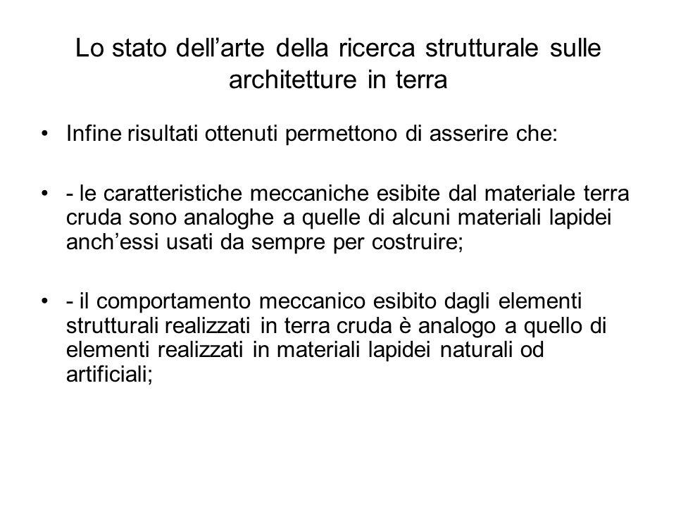 Lo stato dellarte della ricerca strutturale sulle architetture in terra Infine risultati ottenuti permettono di asserire che: - le caratteristiche mec