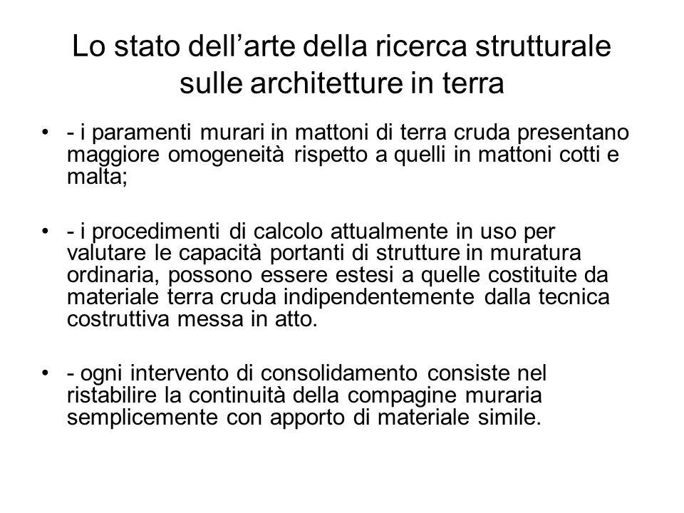 Lo stato dellarte della ricerca strutturale sulle architetture in terra - i paramenti murari in mattoni di terra cruda presentano maggiore omogeneità