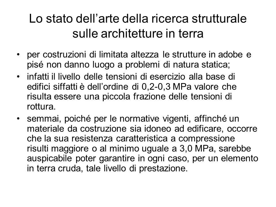 Lo stato dellarte della ricerca strutturale sulle architetture in terra per costruzioni di limitata altezza le strutture in adobe e pisé non danno luo