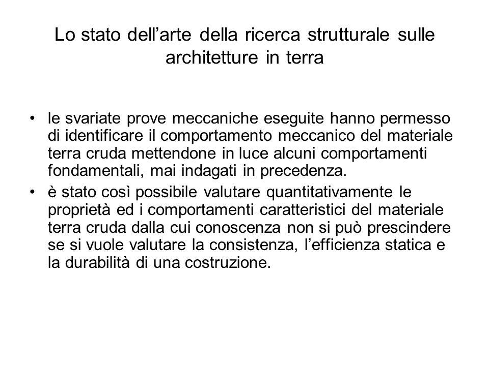 Lo stato dellarte della ricerca strutturale sulle architetture in terra le svariate prove meccaniche eseguite hanno permesso di identificare il compor