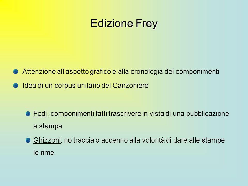Edizione Frey Attenzione allaspetto grafico e alla cronologia dei componimenti Idea di un corpus unitario del Canzoniere Fedi: componimenti fatti tras