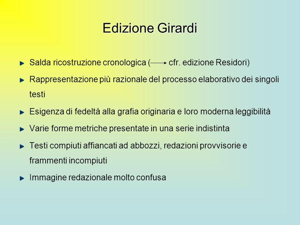 Edizione Girardi Salda ricostruzione cronologica ( cfr. edizione Residori) Rappresentazione più razionale del processo elaborativo dei singoli testi E