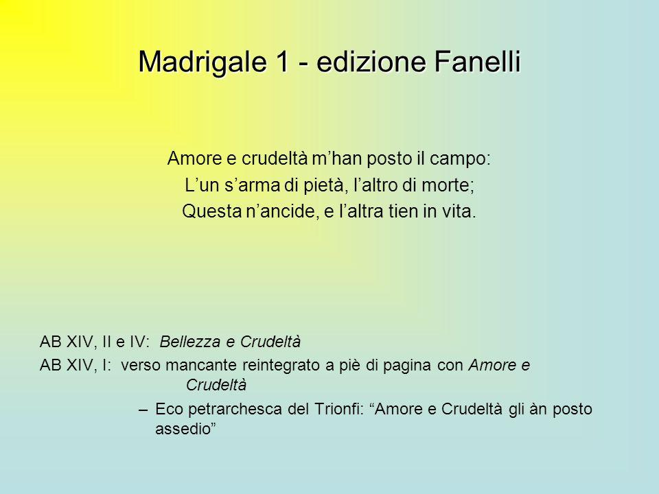 Madrigale 1 - edizione Fanelli Amore e crudeltà mhan posto il campo: Lun sarma di pietà, laltro di morte; Questa nancide, e laltra tien in vita. AB XI
