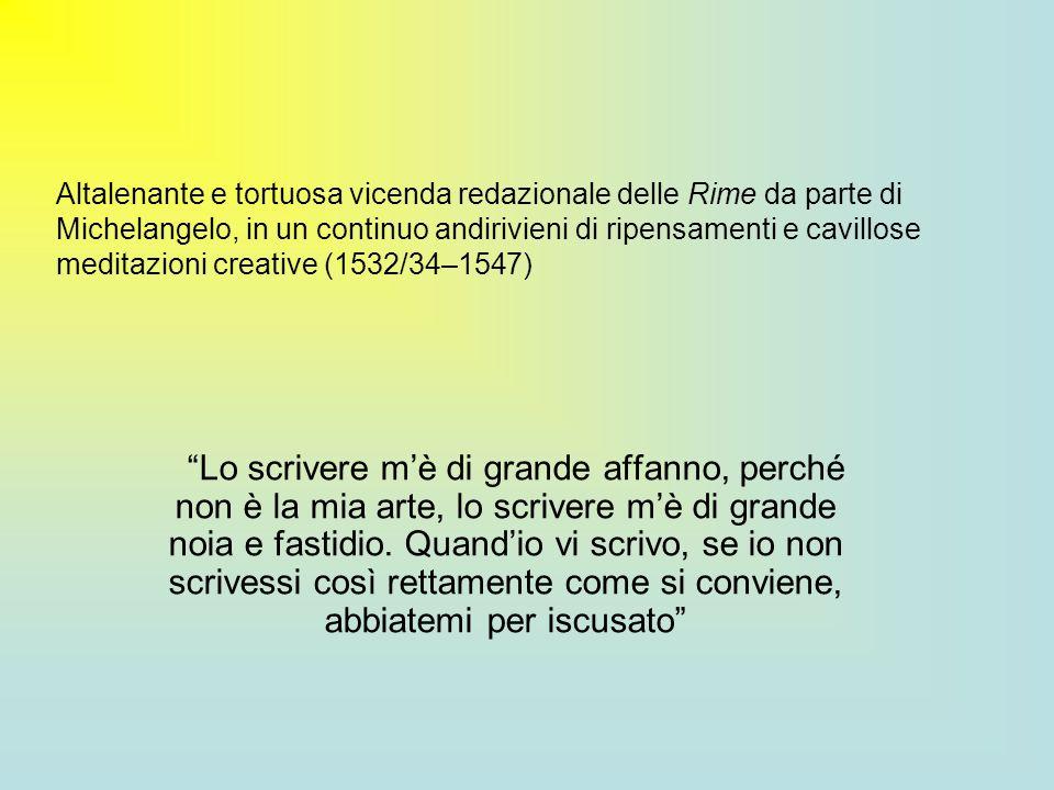 Sezioni riconoscibili allinterno delle Rime Componimenti per il giovane amico Tommaso dei Cavalieri (metà anni 30) Sonetti e madrigali ispirati o dedicati a Vittoria Colonna (1536- 1547) Testi concernenti motivi di amore contrastato Cinquanta epitaffi per il sepolcro di Cecchino Bracci, nipote del Riccio (ca 1544) Poesie di argomento vario