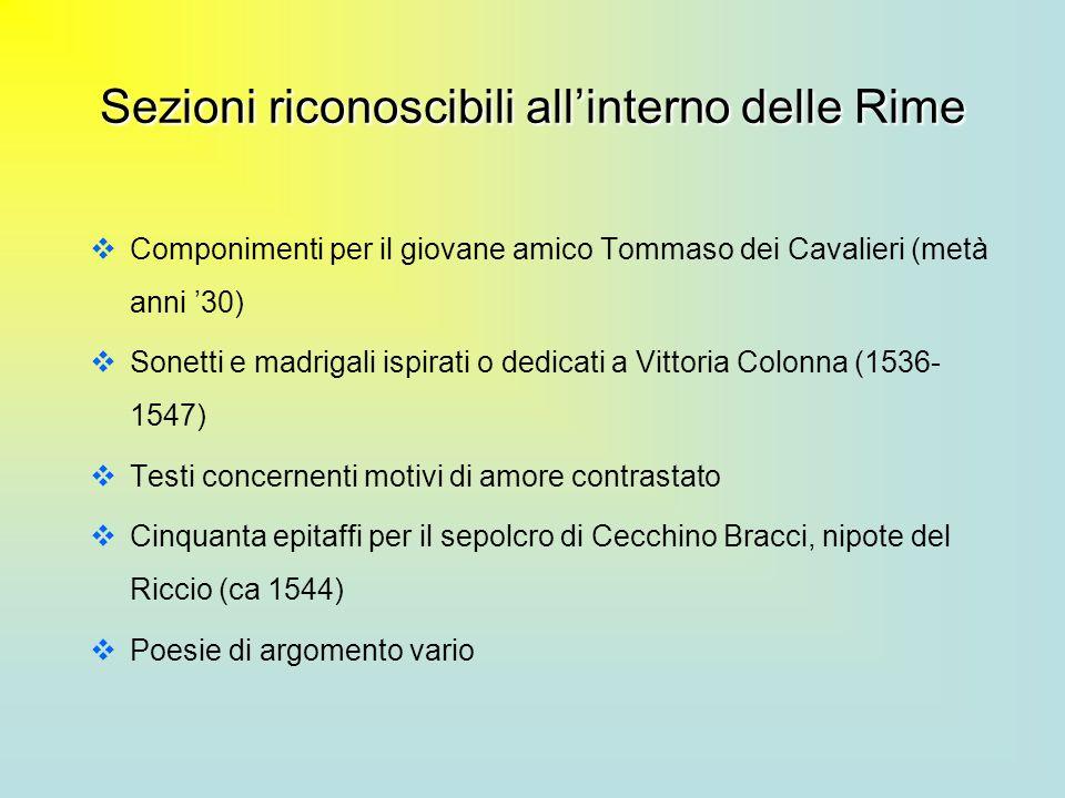 Sezioni riconoscibili allinterno delle Rime Componimenti per il giovane amico Tommaso dei Cavalieri (metà anni 30) Sonetti e madrigali ispirati o dedi