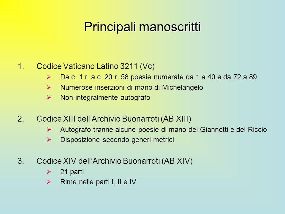 Principali manoscritti 1.Codice Vaticano Latino 3211 (Vc) Da c. 1 r. a c. 20 r. 58 poesie numerate da 1 a 40 e da 72 a 89 Numerose inserzioni di mano