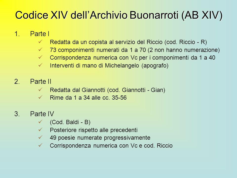 Codice XIV dellArchivio Buonarroti (AB XIV) 1.Parte I Redatta da un copista al servizio del Riccio (cod. Riccio - R) 73 componimenti numerati da 1 a 7
