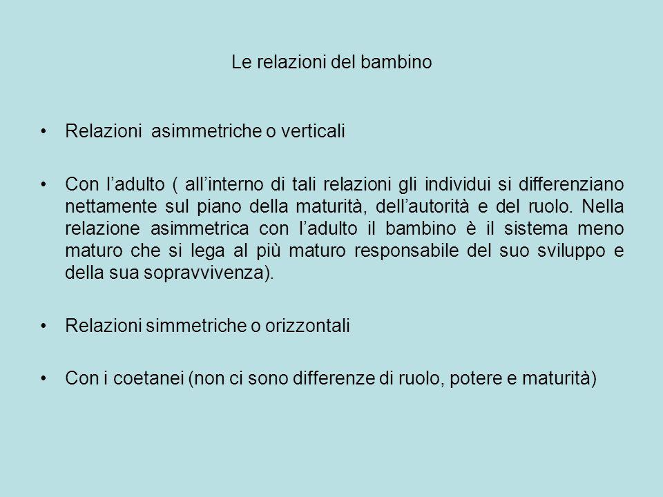 Le relazioni del bambino Relazioni asimmetriche o verticali Con ladulto ( allinterno di tali relazioni gli individui si differenziano nettamente sul p