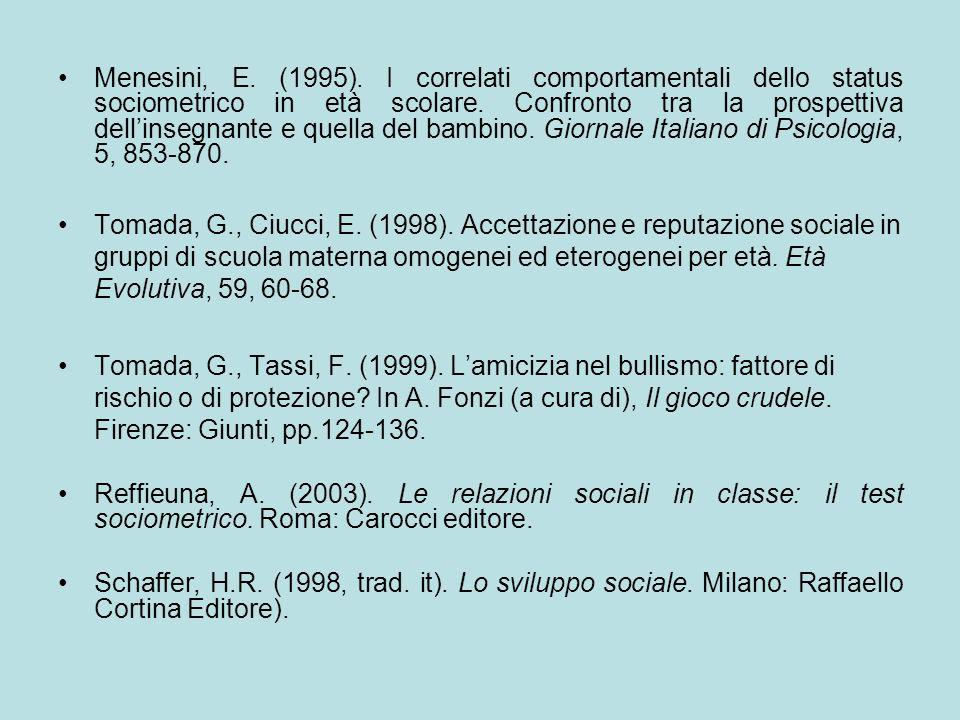 Menesini, E. (1995). I correlati comportamentali dello status sociometrico in età scolare. Confronto tra la prospettiva dellinsegnante e quella del ba
