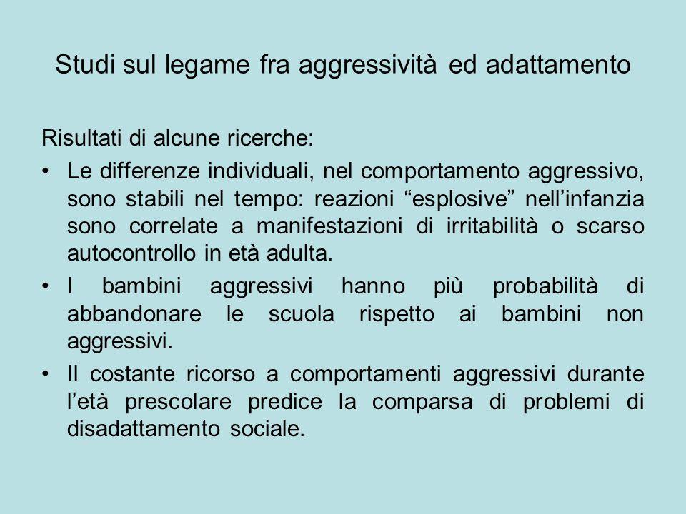 Studi sul legame fra aggressività ed adattamento Risultati di alcune ricerche: Le differenze individuali, nel comportamento aggressivo, sono stabili n