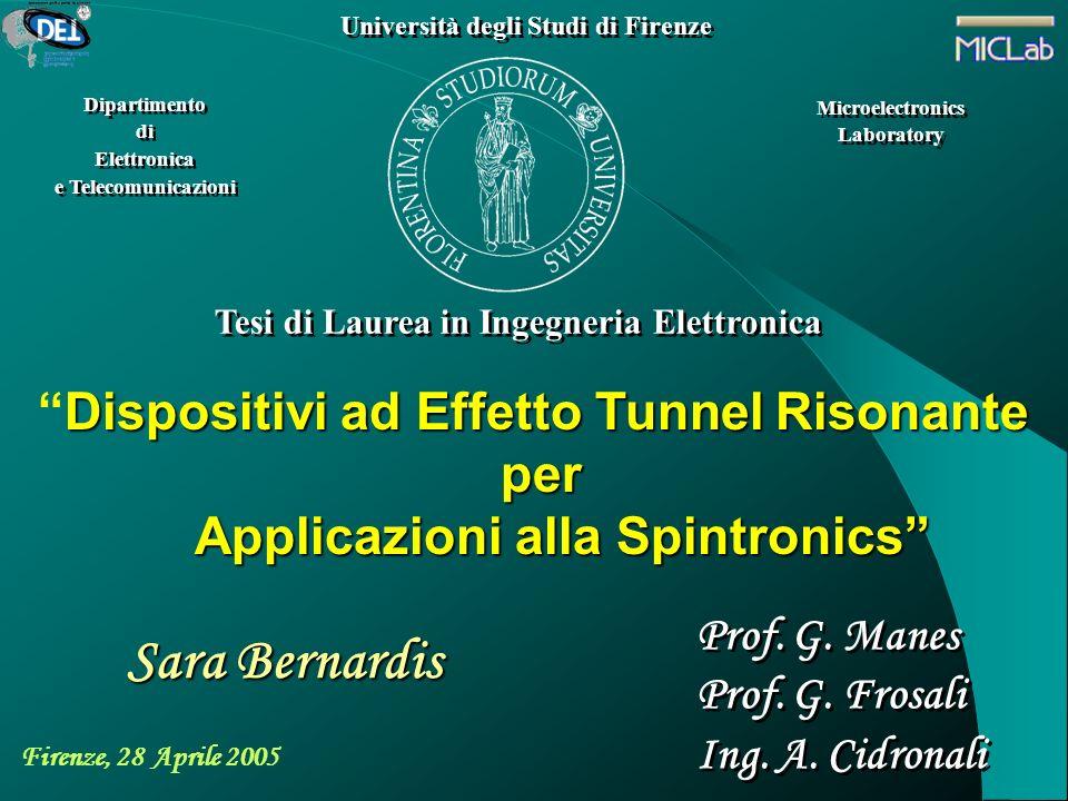 Dispositivi ad Effetto Tunnel RisonanteDispositivi ad Effetto Tunnel Risonante per per Applicazioni alla Spintronics Applicazioni alla Spintronics Uni