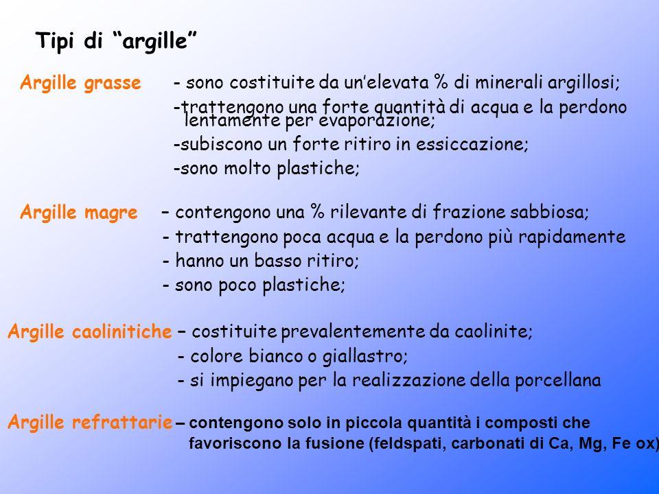 Tipi di argille Argille grasse - sono costituite da unelevata % di minerali argillosi; -trattengono una forte quantità di acqua e la perdono lentament