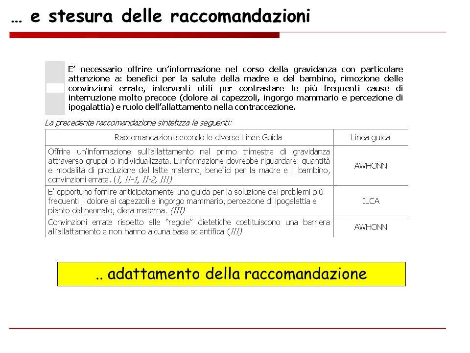 … e stesura delle raccomandazioni.. adattamento della raccomandazione