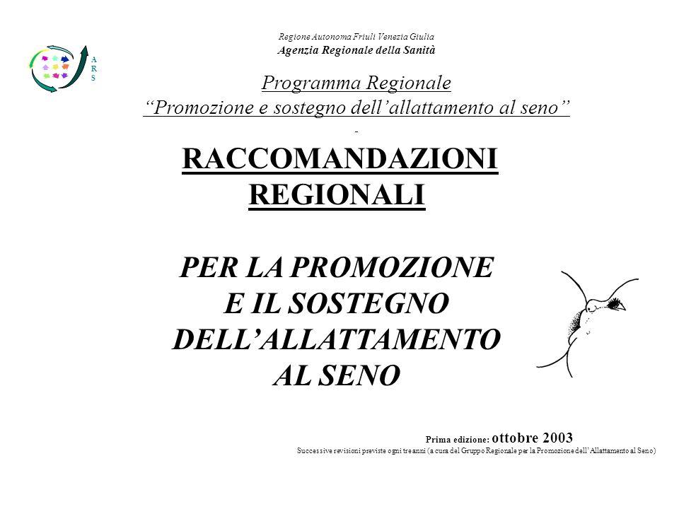 ARSARS Regione Autonoma Friuli Venezia Giulia Agenzia Regionale della Sanità Programma Regionale Promozione e sostegno dellallattamento al seno BOZZA RACCOMANDAZIONI REGIONALI PER LA PROMOZIONE E IL SOSTEGNO DELLALLATTAMENTO AL SENO Prima edizione: ottobre 2003 Successive revisioni previste ogni tre anni (a cura del Gruppo Regionale per la Promozione dellAllattamento al Seno)