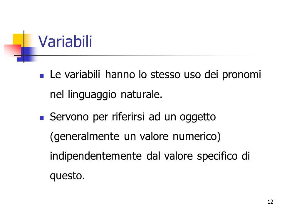 12 Variabili Le variabili hanno lo stesso uso dei pronomi nel linguaggio naturale.