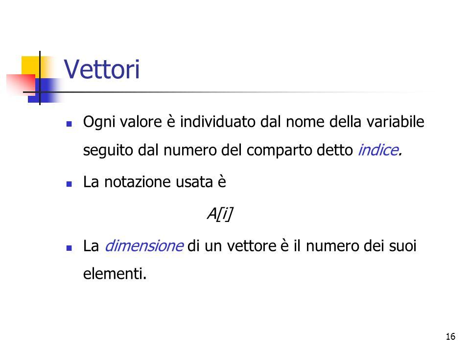 16 Vettori Ogni valore è individuato dal nome della variabile seguito dal numero del comparto detto indice. La notazione usata è A[i] La dimensione di