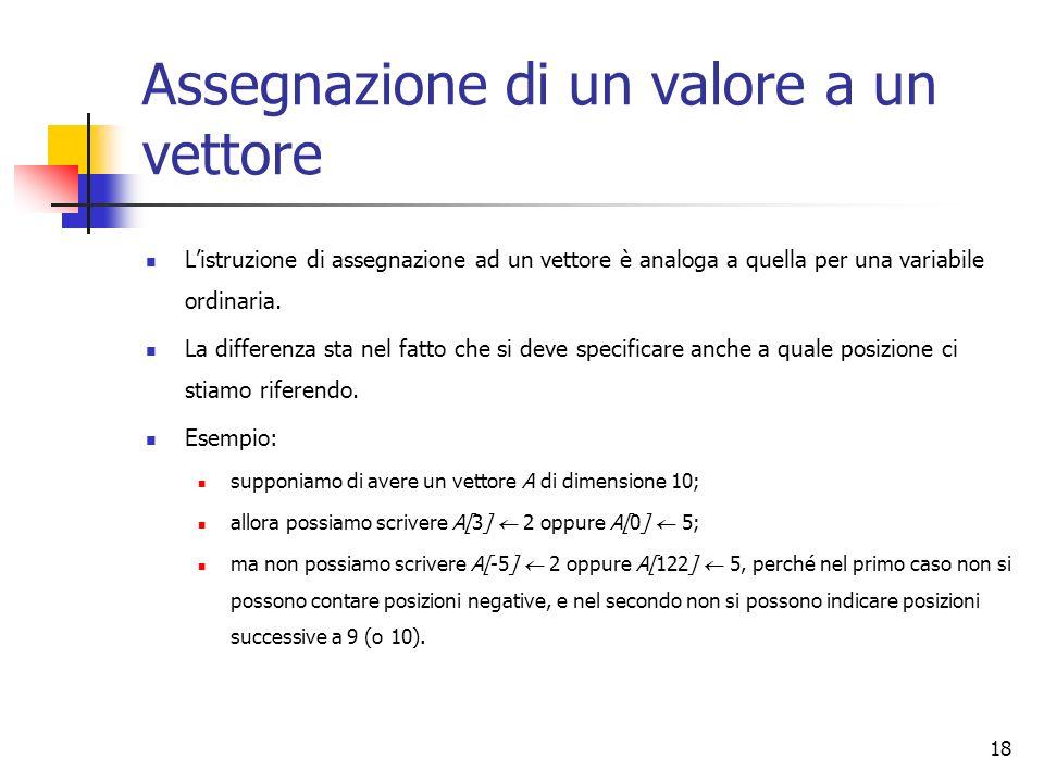 18 Assegnazione di un valore a un vettore Listruzione di assegnazione ad un vettore è analoga a quella per una variabile ordinaria. La differenza sta