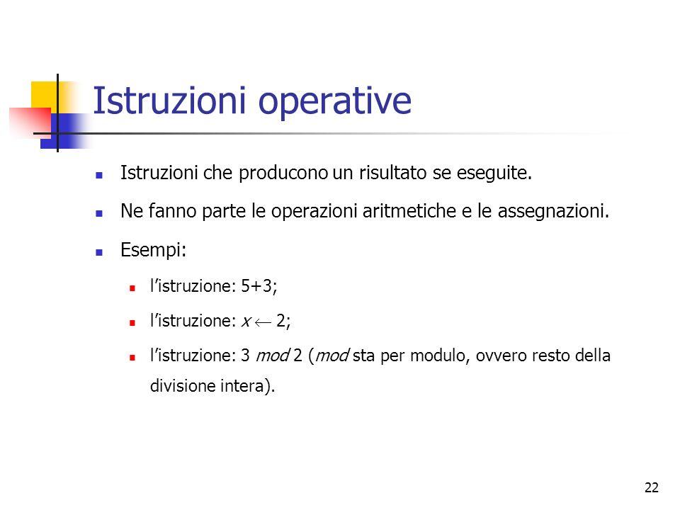 22 Istruzioni operative Istruzioni che producono un risultato se eseguite. Ne fanno parte le operazioni aritmetiche e le assegnazioni. Esempi: listruz