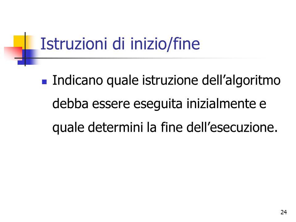 24 Istruzioni di inizio/fine Indicano quale istruzione dellalgoritmo debba essere eseguita inizialmente e quale determini la fine dellesecuzione.