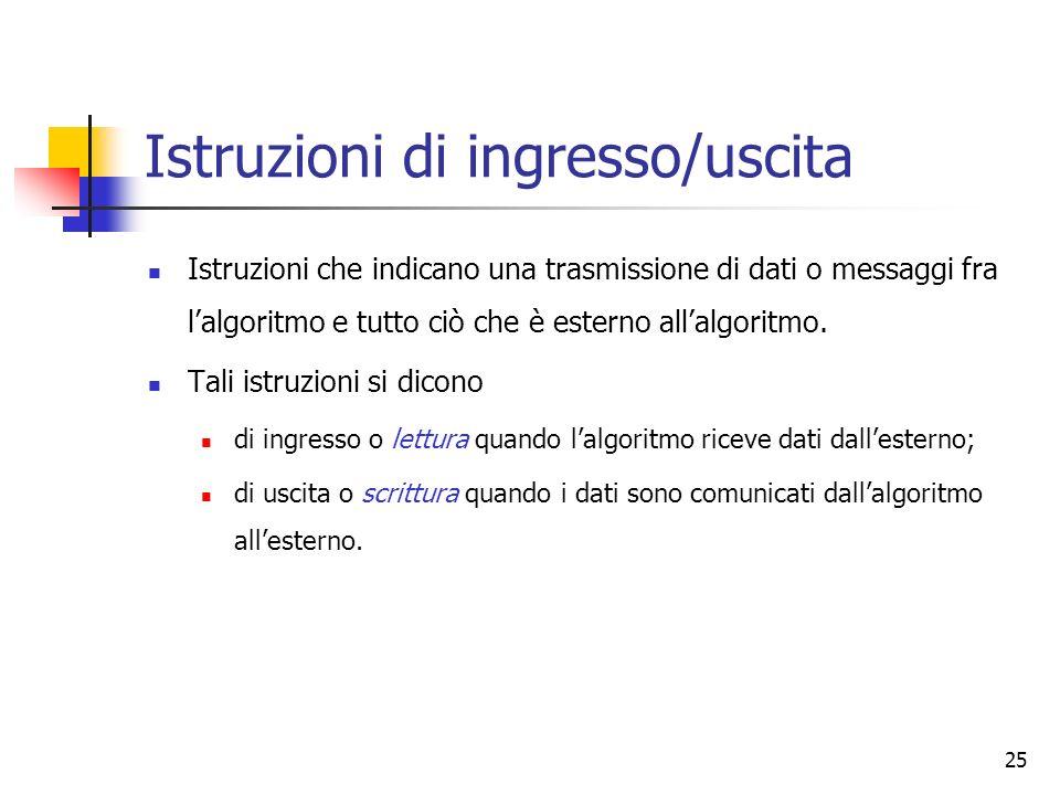 25 Istruzioni di ingresso/uscita Istruzioni che indicano una trasmissione di dati o messaggi fra lalgoritmo e tutto ciò che è esterno allalgoritmo.