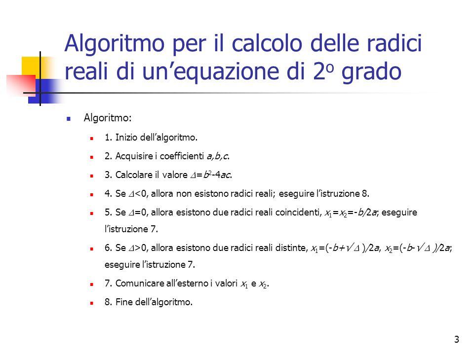 3 Algoritmo per il calcolo delle radici reali di unequazione di 2 o grado Algoritmo: 1. Inizio dellalgoritmo. 2. Acquisire i coefficienti a,b,c. 3. Ca