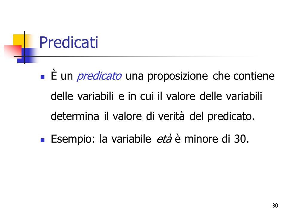 30 Predicati È un predicato una proposizione che contiene delle variabili e in cui il valore delle variabili determina il valore di verità del predica